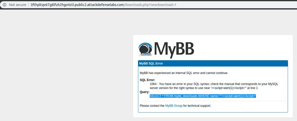 AttackDefense com [SXSS] - MyBB Downloads Plugin